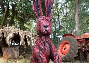Claire-Alexie Turcot Chêne, acrylique, 160 cm x 65 cm x 65 cm, Symposium du Ranch Santa Maria, Tepatitlan 2017, Mexico-Claire-Alexie Turcot