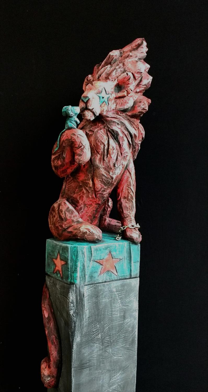 Mélèze, acrylique, 196 cm x 45 cm x 40 cm, 2017, Symposium Lignum summer art d' Edolo 2017, Italie-