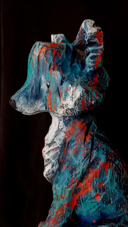 Collection ''Les-Entaillés'', Tilleul, acrylique, 51 cm x 13.5 cmx 13.5 cm, 2016-Photo: Claire-Alexie Turcot