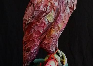 Claire-Alexie Turcot Collection ''Les Entaillés'', Tilleul, acrylique, 75 cm x 21 cm x 18 cm, 2017-Photo: Claire-Alexie Turcot