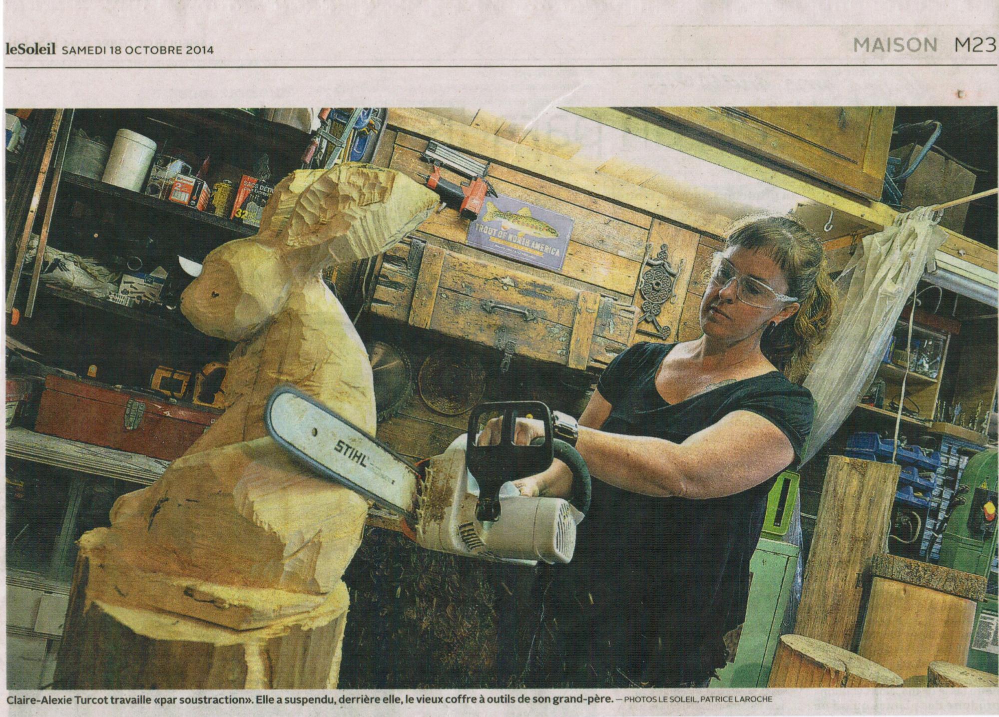 Article de presse sur Claire-Alexie Turcot, sculpteure-